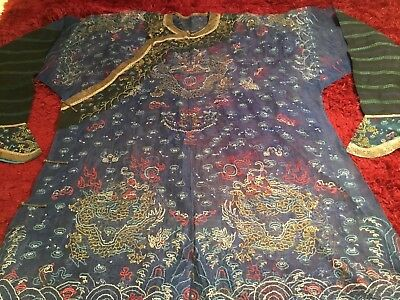 Beautiful Antique Qi'ing Chinese Embroidered Gauze Ji'ifu Dragon Robe Embroidery