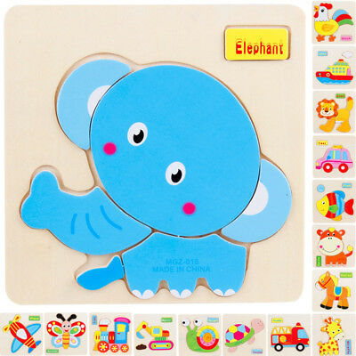 Baby Kids Wooden Puzzle Jigsaw Cartoon Early Education Learning Tools Sets Toys