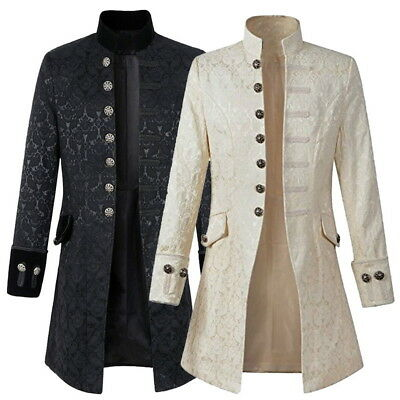 Vintage Mens Gothic Brocade Jacket Frock Coat Steampunk Victorian Morning Coat