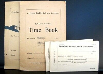 Canadian Pacific Railway 2 x Extra Gang Time Books etc. ca1910 CP Rail