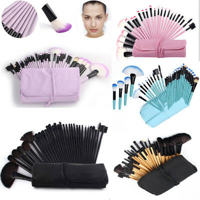 32pcs Muticolor Vander New Eyebrow Shadow Soft Makeup Brush Set Kit W/ Pouch Bag