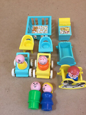 Vtg Fisher Price Little People Play Family Nursery 13 Pieces Teal Blue & Yellow