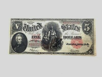 1907 Large 5 Dollar Bill United States Note White High Grade (estate) $0.99
