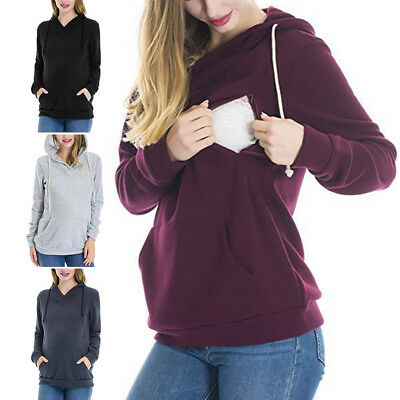 Hooded Maternity Clothes Breastfeeding Tops Hoodies Sweat Women's Nursing Tops