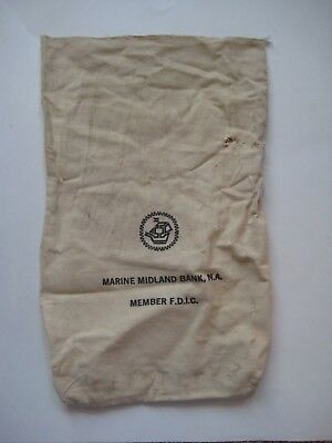 Old Vintage M & T BANK BUFFALO NEW YORK Canvas Cloth Sack Money Coin Deposit Bag
