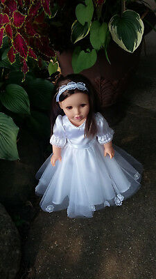 """18"""" Doll Clothes Christening Wedding  Dress Gown Outfit fits American Girl Doll"""