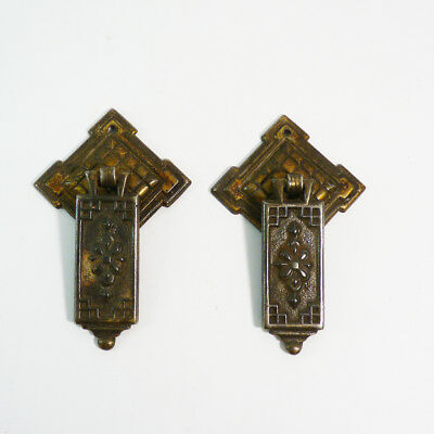 Pair of Antique Vintage Metal Brass Drawer Pulls Drop Handles Marked Foreign