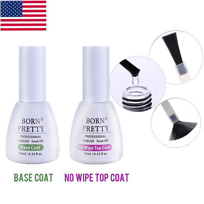 BORN PRETTY UV LED Gel Nail Polish Top Coat Base Coat No Wipe Prep and Finish