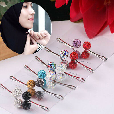 Women Magnetic Round Hijab Pin Headscarf Abaya Clasp Brooch Shawl Scarf Pin