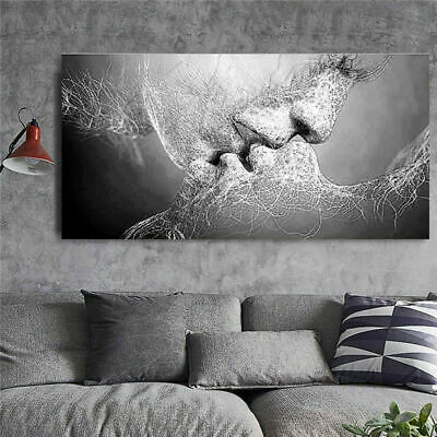 Black & White Couple kissing Abstract Painting Canvas wall art Australia made