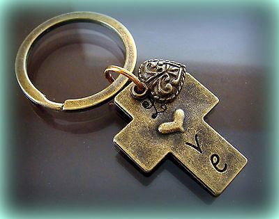 LOVE CROSS Keychain w/ Heart ANTIQUE Medieval Art Deco Style Jewelry