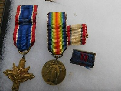 2 Early Us Mini Medals Wwi Victory And A Cross +