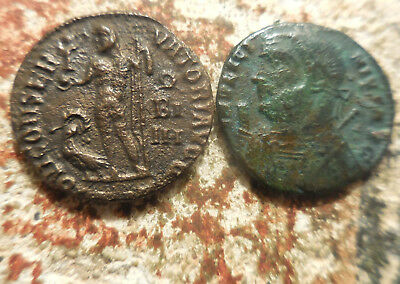 Lot of 2 Coins of Licinius I, Old ID Estate Tags! Both 18 mm