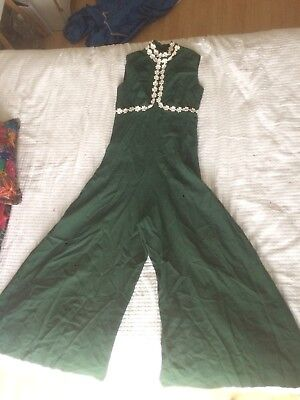 Vintage 70s Green Jumpsuit Pantsuit Brady Bunch Dress Up Costume
