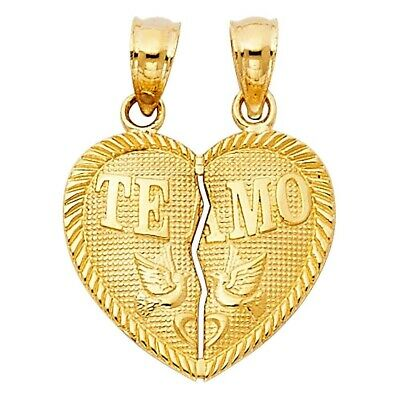 TEAMO Couple Broken Heart 14K Yellow Gold Real Solid Charm Pendant 1.2gm 17X15mm