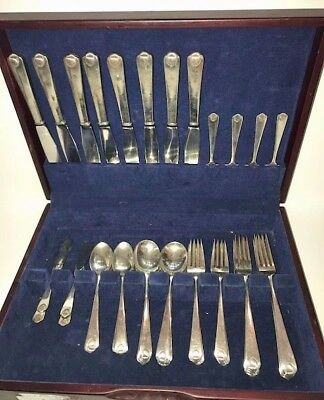 STERLING SILVER Colonial Shell Flatware with Wood Case Holder (Set of 48)