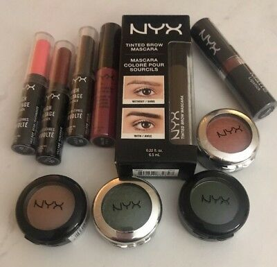 10 Piece Lot-NYX Makeup Cosmetics Assorted Lip, Eye Shadow & Brow Full Size NEW