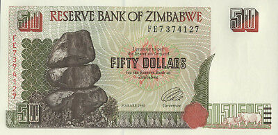 Zimbabwe Reserve Bank of Zimbabwe $50 note, 1994, uncirculated