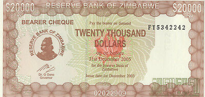 Zimbabwe Reserve Bank of Zimbabwe $20,000 bearer cheque, unc, 2003
