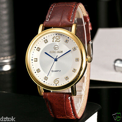 2018 Luxury Men Women Watches Leather Belt Analog Quartz Simple Wrist Watch