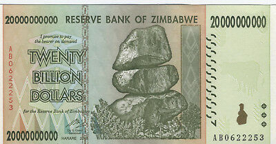 Zimbabwe $20 Billion note, uncirculated, 2008, AB prefix