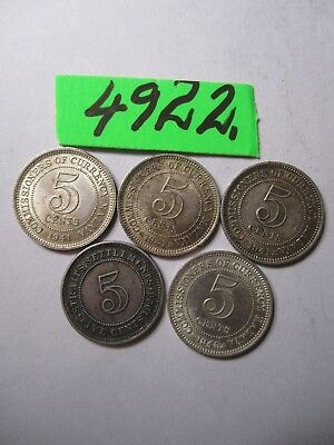 5  x  coins from Straits Settlement/ Comm. of Currency    10    gms      Mar4922