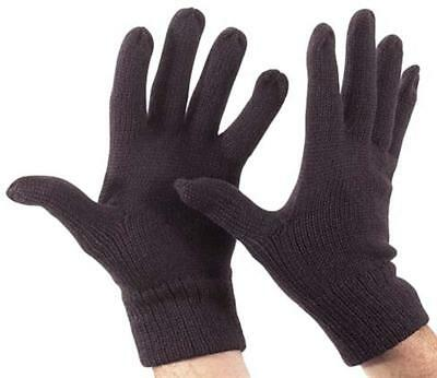 Wool Fine Knitted Glove Thermal Black Knit Full Finger Fits Most Warm Winter