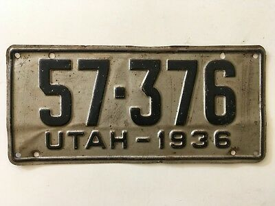 1936 Utah License Plate 100% All Original Paint