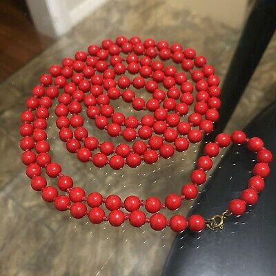 """Vintage ART DECO Czech RED Glass BEADS Hand Knotted FLAPPER Length NECKLACE 55"""""""