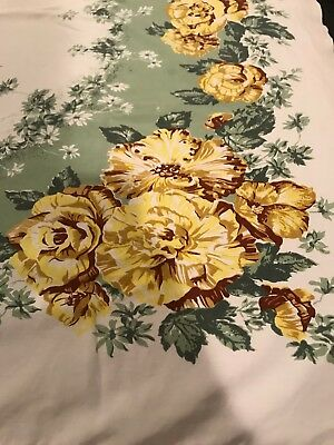 Vintage Mid Century PRINT Tablecloth California Hand Print Yellow Flowers Green