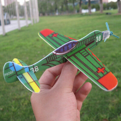 2Pcs Foam Hand Throw Flying Airplane Outdoor Launch Glider Plane Kids Toys