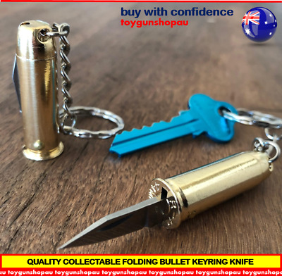 Mini Bullet Shaped Pocket Folding Knife S/steel Bullet Keyring Knife keychain B