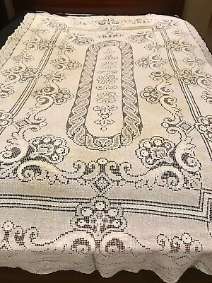 "Vintage Crocheted Tablecloth 89"" x 54"" White"