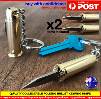 2 x Folding Bullet Knife key chain Bullet Knife Keyring key chain Knife S/Steel