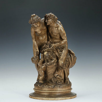 Large Group Satyr and Nymph after Clodion 1880/90 Terracotta France Faun