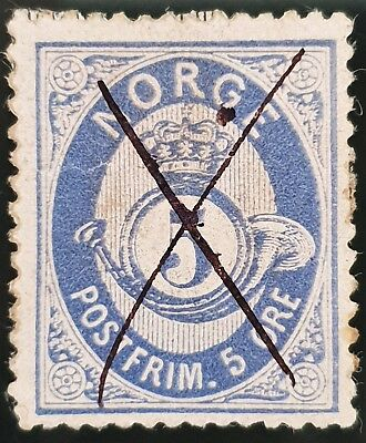 Norway 1877 Sc # 24 Ultramarine 5 Ore Used Stamp Lot #3