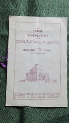 1934 November The Lodge of Remembrance No. 481 Commemoration Service Following