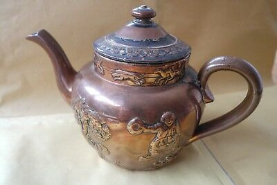 Copper surfaced stoneware Teapot, unknown vintage, lot of damage. Possibly Bourn