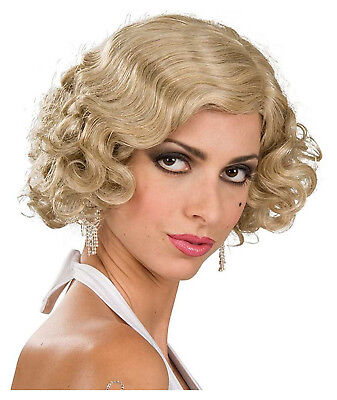 Flapper 1920's 30s Gatsby Gangster Short Curly Mix Blonde Costume Women Wig