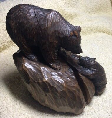 Rare Vintage Black Forest*hand Carved*signed Detailed Wooden Mother Bear 🐻& Cub