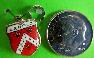 Charm  Arnold Family Coat Of Arms/ Family Crest Silverplated & Enamel