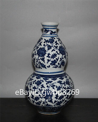 Chinese blue and white porcelain hand-painted flower gourd Vase w Qianlong Mark