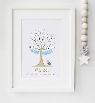 Peter Rabbit Fingerprint Tree Baby Shower, Christening, etc Print UNFRAMED