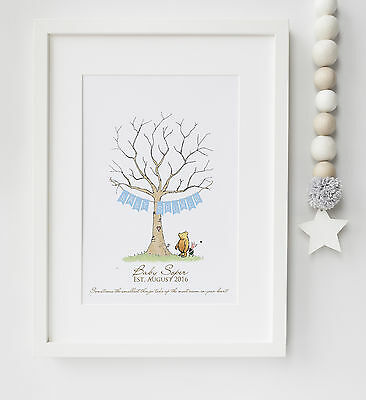 Winnie the Pooh Fingerprint Tree Baby Shower, Christening, etc Print UNFRAMED