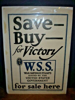 "WSS Original Antique WWI ""Save Buy for Victory"" War Savings Stamps Poster 24X17"