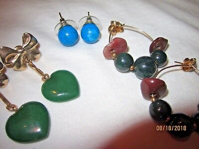 3 VTG Genuine Stone Estate Pierced Earring Collection Lot Turquoise Malachite +