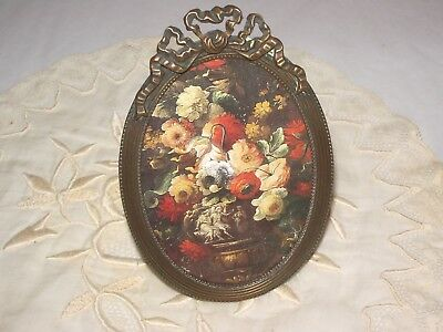 Antique french vintage oval miniature picture frame bronze/brass with bow