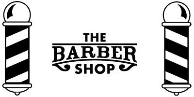 large the barber shop front window barbers pole vinyl sticker sign wall art hair