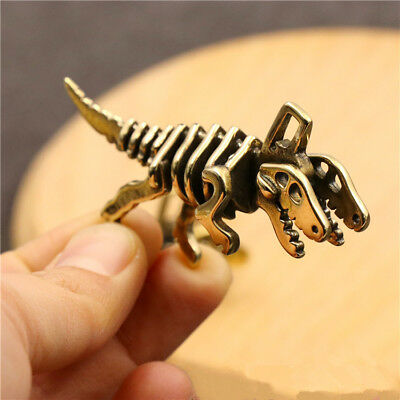 Vintage Solid Pure Brass Dinosaur Car Key Chain Key Ring Pandent DIY Accessories