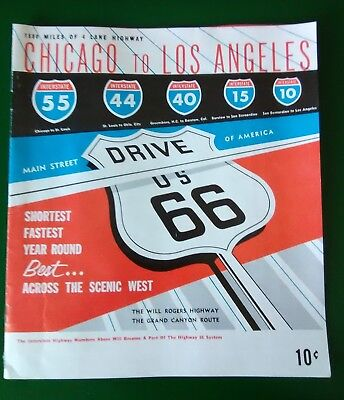 Vintage Route 66  Chicago to Los Angeles - map booklet with tourist attractions